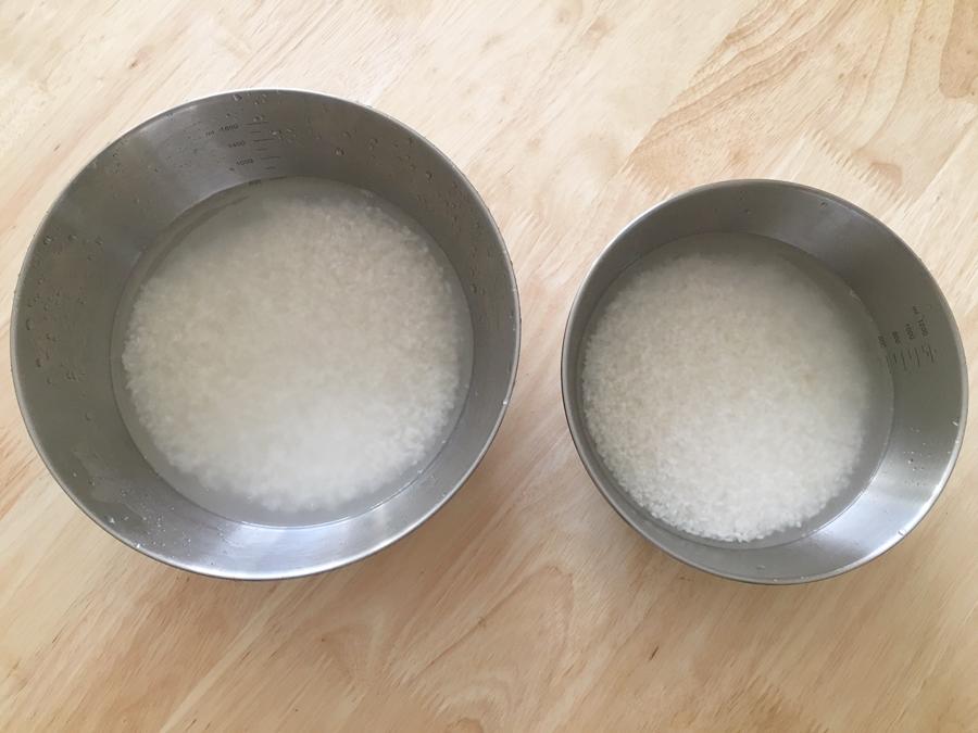 無水鍋 炊飯  お米を水につける